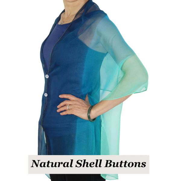 Silky Button Shawl (Two Button Chiffon) Natural Shell Buttons #106 Navy-Blue-Seafoam (Tri-Color)  -