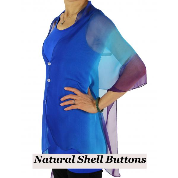 Silky Button Shawl (Two Button Chiffon) Natural Shell Buttons #106 Royal-Turquoise-Purple (Tri-Color)  -