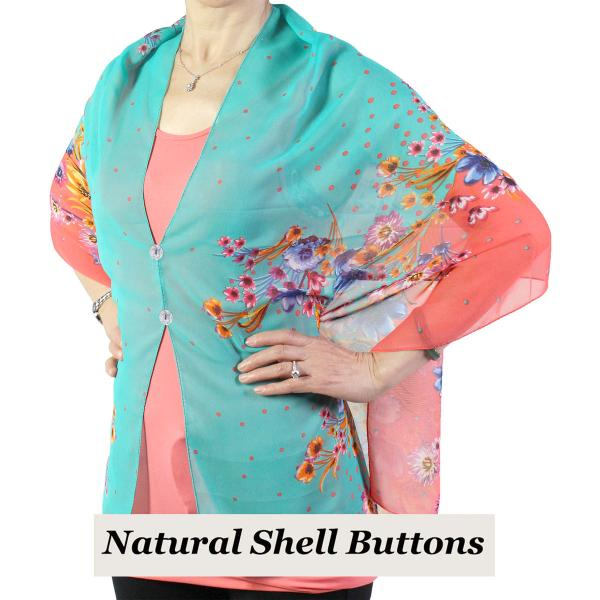 Silky Button Shawl (Two Button Chiffon) Natural Shell Buttons #015 Coral -
