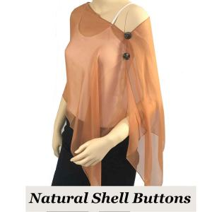 wholesale Silky Button Shawl (Two Button Chiffon) Natural Shell Buttons Solid Copper  -