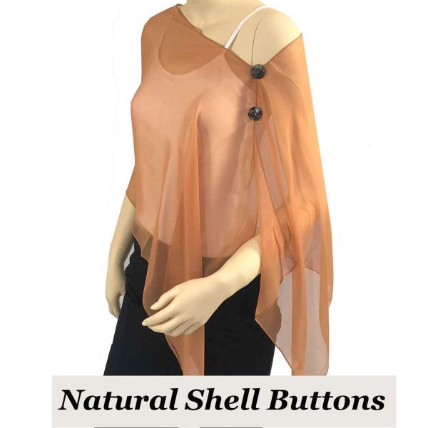 Silky Button Shawl (Two Button Chiffon) Natural Shell Buttons Solid Copper  -