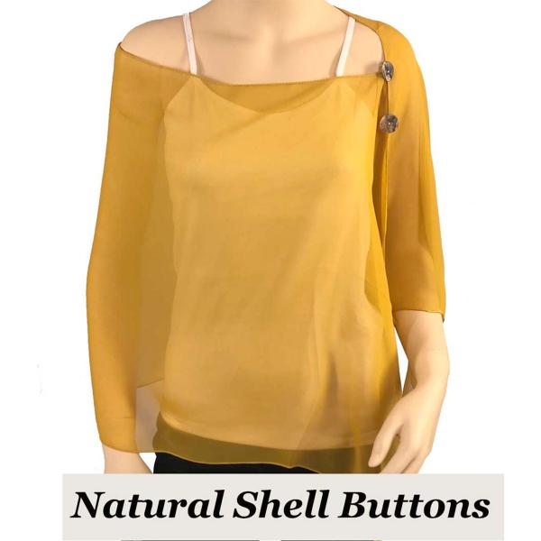 Silky Button Shawl (Two Button Chiffon) Natural Shell Buttons Solid Mustard  -