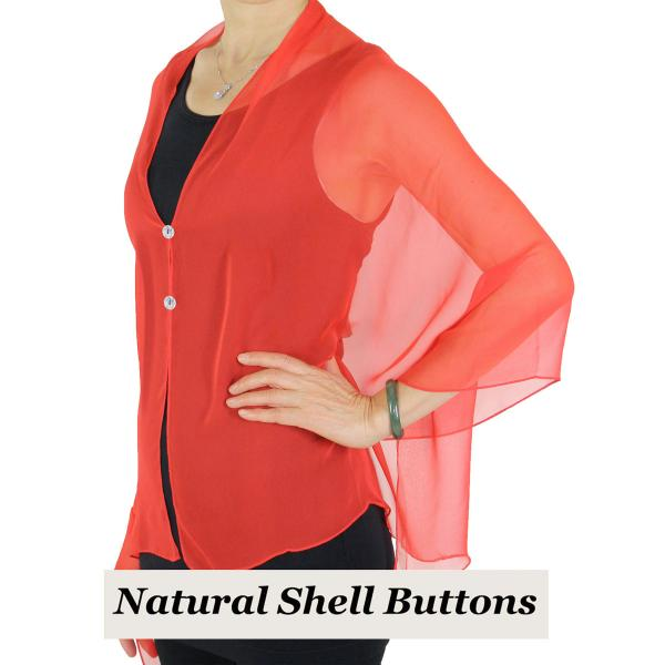Silky Button Shawl (Two Button Chiffon) Natural Shell Buttons Solid Red  -