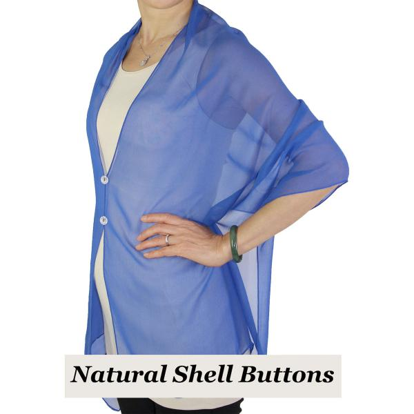 Silky Button Shawl (Two Button Chiffon) Natural Shell Buttons Solid Royal  -