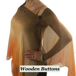 wholesale Silky Button Shawl (Two Button Chiffon) Brown Wood Buttons #106 Brown-Beige-Orange (Tri-Color) -