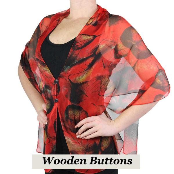 Silky Button Shawl (Two Button Chiffon) Black Wood Buttons #129 Red (Leaves) -
