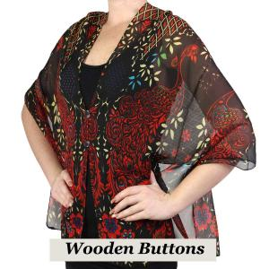 wholesale Silky Button Shawl (Two Button Chiffon) Black Wood Buttons #506 Black-Red (Peacock Abstract) -