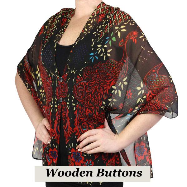 Silky Button Shawl (Two Button Chiffon) Black Wood Buttons #506 Black-Red (Peacock Abstract) -