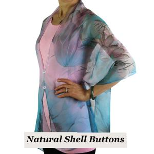 wholesale Silky Button Shawl (Two Button Chiffon) Natural Shell Buttons #130 Teal-Pink (Lotus) -