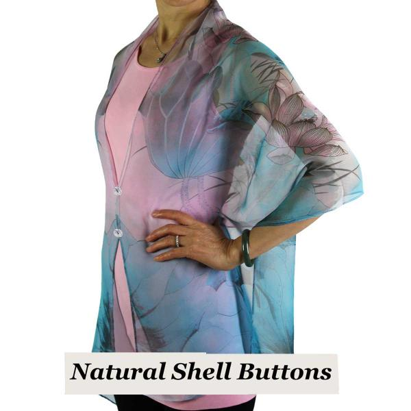 Silky Button Shawl (Two Button Chiffon) Natural Shell Buttons #130 Teal-Pink (Lotus) -