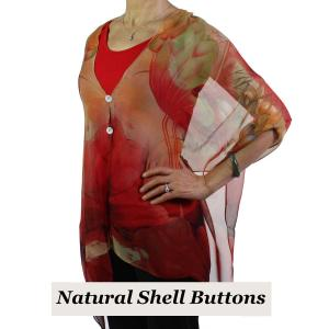 wholesale Silky Button Shawl (Two Button Chiffon) Natural Shell Buttons #130 Red-Gold (Lotus)  -