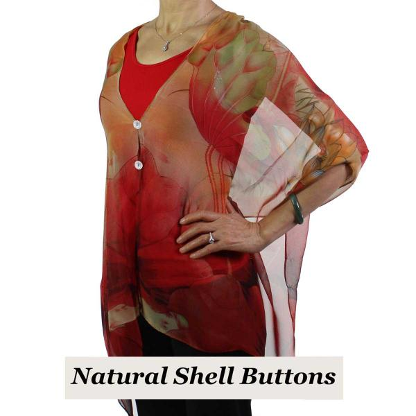 Silky Button Shawl (Two Button Chiffon) Natural Shell Buttons #130 Red-Gold (Lotus)  -