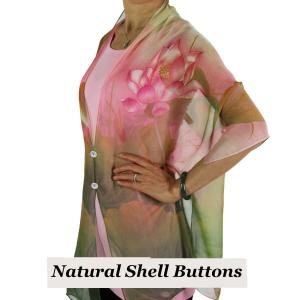 wholesale Silky Button Shawl (Two Button Chiffon) Natural Shell Buttons #130 Pink-Green (Lotus)  -