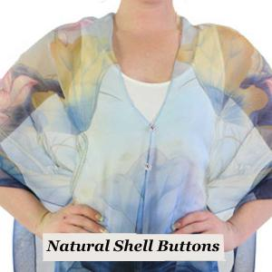 wholesale Silky Button Shawl (Two Button Chiffon) Natural Shell Buttons #130 Blue-Pink (Lotus)  -