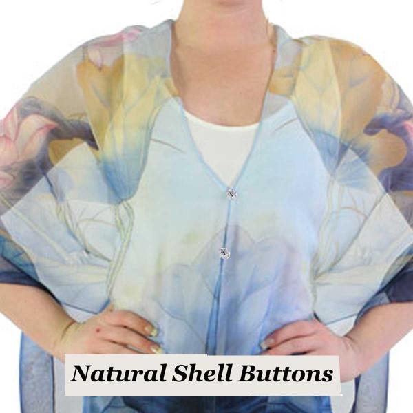 Silky Button Shawl (Two Button Chiffon) Natural Shell Buttons #130 Blue-Pink (Lotus)  -