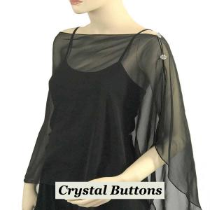 wholesale Silky Button Shawl (Two Button Chiffon) Crystal Buttons Solid Black  -