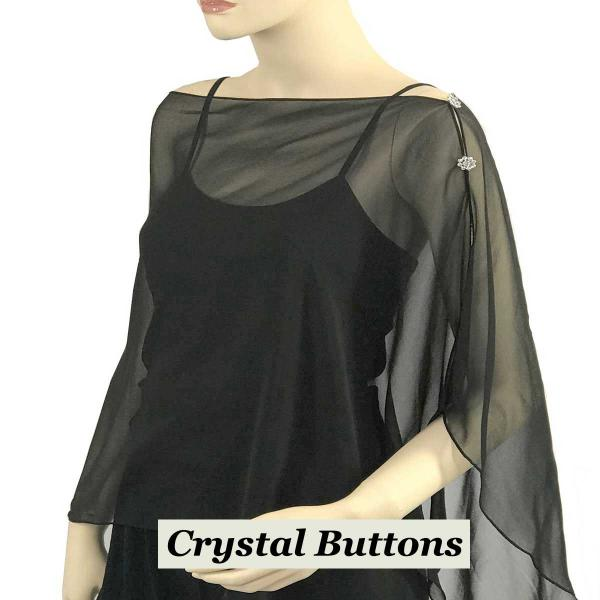 Silky Button Shawl (Two Button Chiffon) Crystal Buttons Solid Black  -