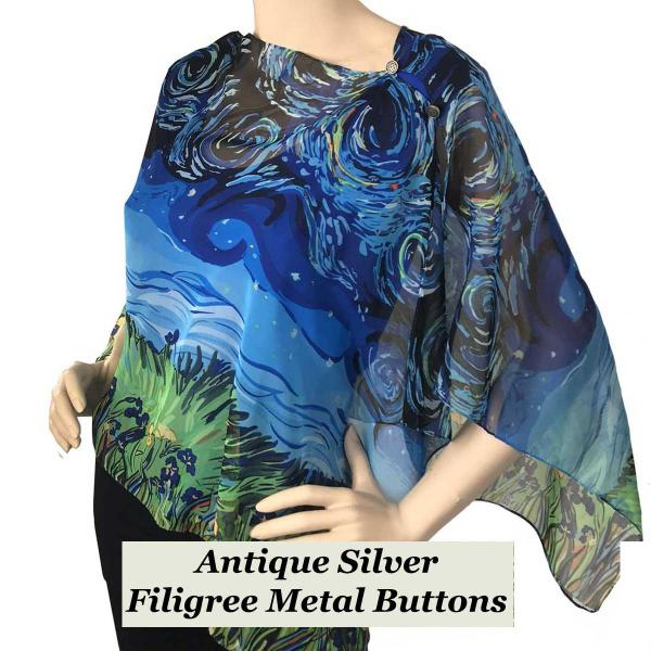 Silky Button Shawl (Two Button Chiffon) Filigree Metal Buttons #717 Blue (Starry Night) -