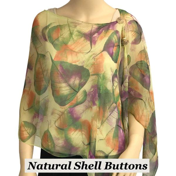Silky Button Shawl (Two Button Chiffon) Natural Shell Buttons #129 Green (Leaves) -