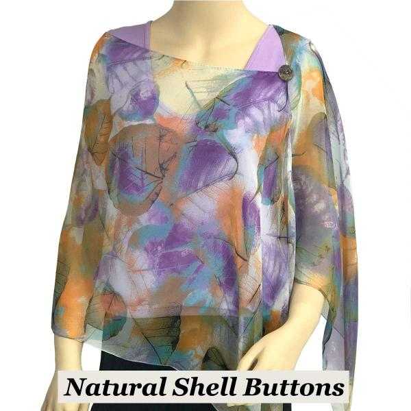 Silky Button Shawl (Two Button Chiffon) Natural Shell Buttons #129 Teal (Leaves) -