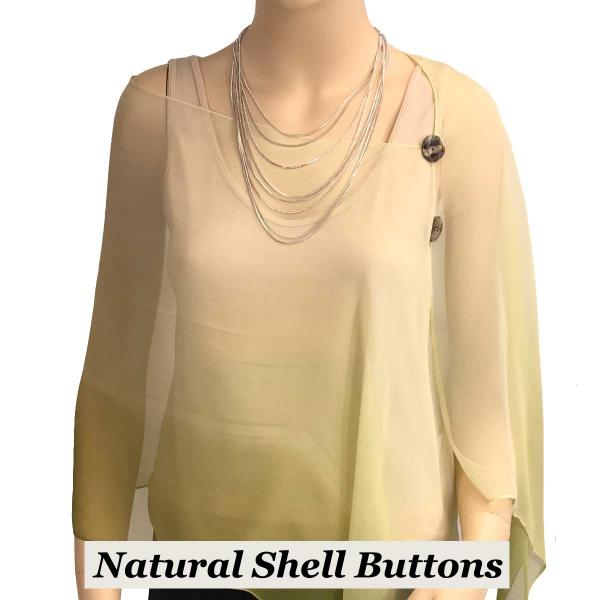 Silky Button Shawl (Two Button Chiffon) Natural Shell Buttons #106 Avocado-Sage-Cream (Tri-Color) -