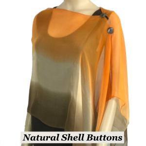 wholesale Silky Button Shawl (Two Button Chiffon) Natural Shell Buttons #106 Brown-Beige-Orange (Tri-Color) -
