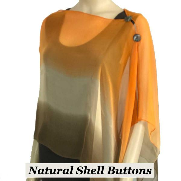 Silky Button Shawl (Two Button Chiffon) Natural Shell Buttons #106 Brown-Beige-Orange (Tri-Color) -