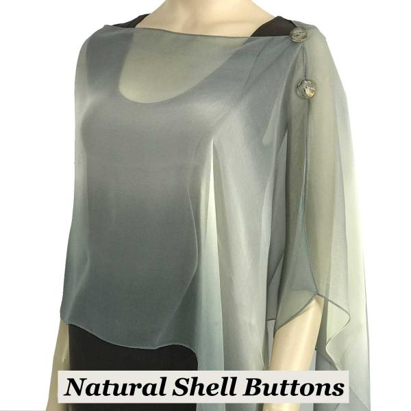 Silky Button Shawl (Two Button Chiffon) Natural Shell Buttons #106 Charcoal-Beige-Grey (Tri-Color) -
