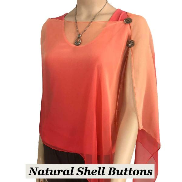 Silky Button Shawl (Two Button Chiffon) Natural Shell Buttons #106 Corals (Tri-Color) -