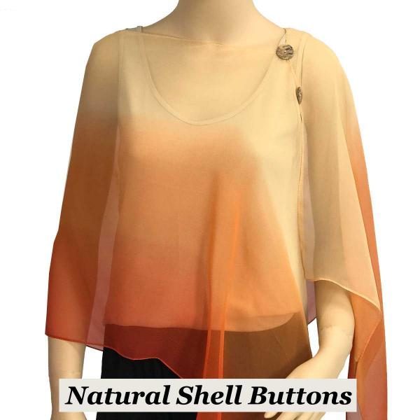 Silky Button Shawl (Two Button Chiffon) Natural Shell Buttons #106 Beige-Peach-Orange (Tri-Color) -