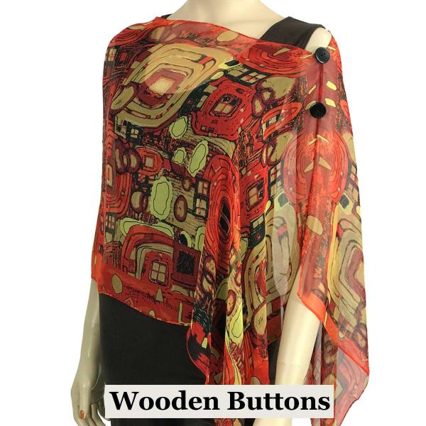 Silky Button Shawl (Two Button Chiffon) Black Wood Buttons #111 Red (Abstract) -