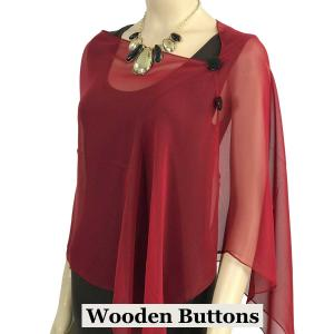 wholesale Silky Button Shawl (Two Button Chiffon) Black Wood Buttons Solid Burgundy -