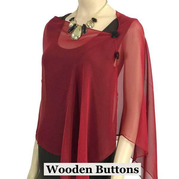 Silky Button Shawl (Two Button Chiffon) Black Wood Buttons Solid Burgundy -