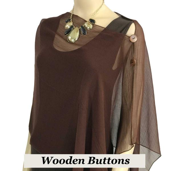 Silky Button Shawl (Two Button Chiffon) Brown Wood Buttons Solid Dark Brown -
