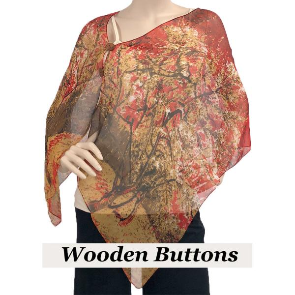 Silky Button Shawl (Two Button Chiffon) Brown Wood Buttons #128 Red (Trees) -