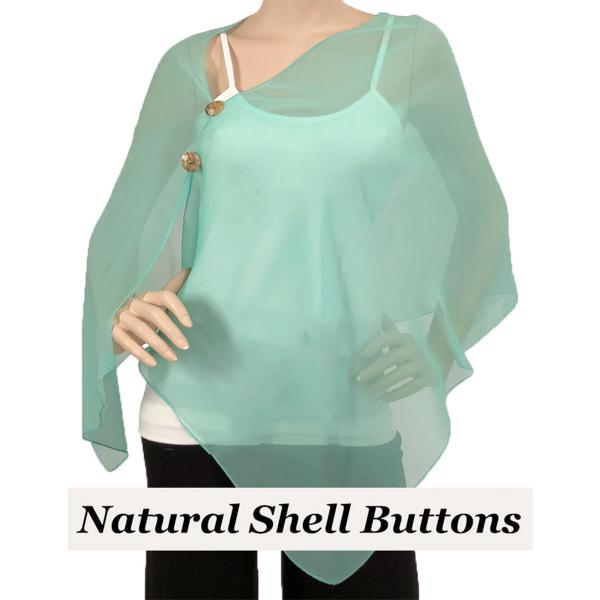 Silky Button Shawl (Two Button Chiffon) Natural Shell Buttons Solid Mint -