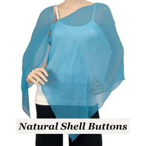 wholesale Silky Button Shawl (Two Button Chiffon) Natural Shell Buttons Solid Turquoise -
