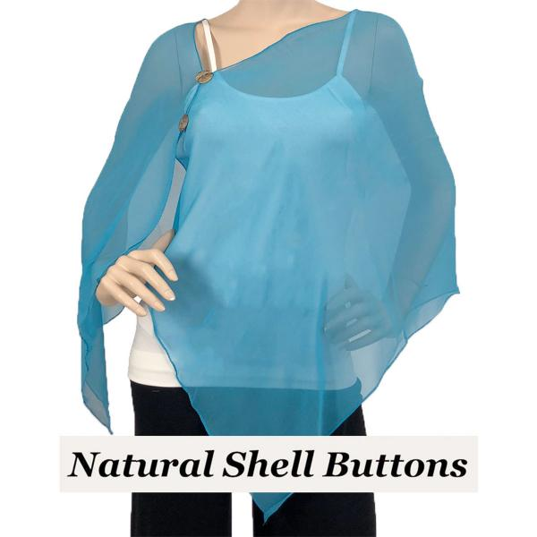 Silky Button Shawl (Two Button Chiffon) Natural Shell Buttons Solid Turquoise -