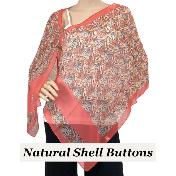Silky Button Shawl (Two Button Chiffon) Natural Shell Buttons #012 Coral -