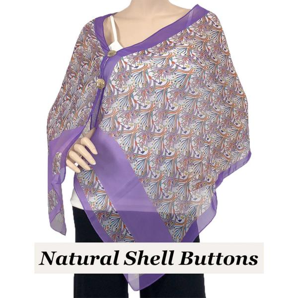 Silky Button Shawl (Two Button Chiffon) Natural Shell Buttons #012 Purple -