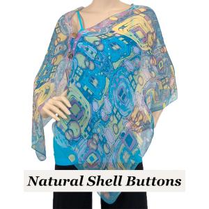 wholesale Silky Button Shawl (Two Button Chiffon) Natural Shell Buttons #111 Blue (Abstract) -