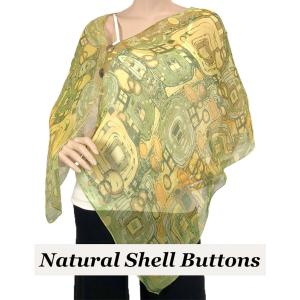 wholesale Silky Button Shawl (Two Button Chiffon) Natural Shell Buttons #111 Green (Abstract) -