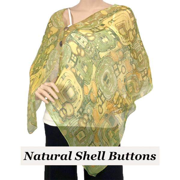 Silky Button Shawl (Two Button Chiffon) Natural Shell Buttons #111 Green (Abstract) -
