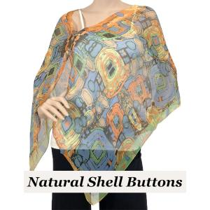 wholesale Silky Button Shawl (Two Button Chiffon) Natural Shell Buttons #111 Orange (Abstract) -