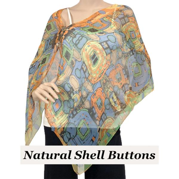 Silky Button Shawl (Two Button Chiffon) Natural Shell Buttons #111 Orange (Abstract) -