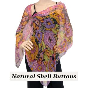 wholesale Silky Button Shawl (Two Button Chiffon) Natural Shell Buttons #111 Pink (Abstract) -