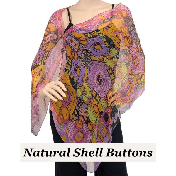 Silky Button Shawl (Two Button Chiffon) Natural Shell Buttons #111 Pink (Abstract) -