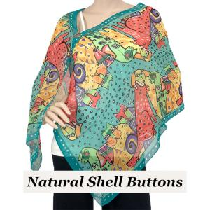 wholesale Silky Button Shawl (Two Button Chiffon) Natural Shell Buttons #720 Teal (Cats and Dogs) -