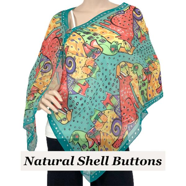 Silky Button Shawl (Two Button Chiffon) Natural Shell Buttons #720 Teal (Cats and Dogs) -