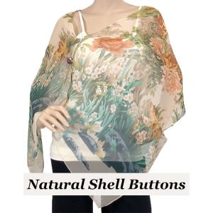 wholesale Silky Button Shawl (Two Button Chiffon) Natural Shell Buttons #704 Cream (Floral Border) -